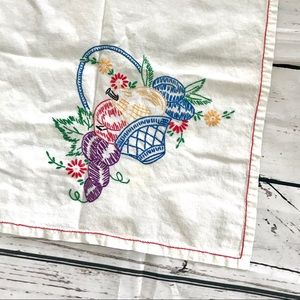 Vintage embroidered fruit basket linen tea towel